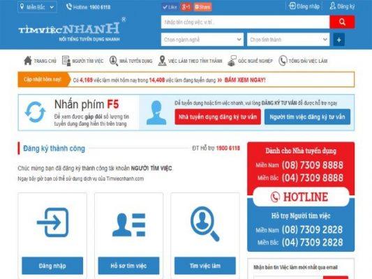 Trang website Timviecnhanh com